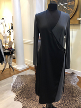Load image into Gallery viewer, Black & Gray Wrap Dress by French Connection