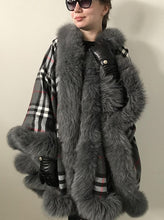 Load image into Gallery viewer, Cashmere & Fox Fur Cape with Hood