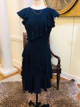 Load image into Gallery viewer, Navy Asymmetrical Ruffle Dress
