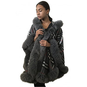 Cashmere & Fox Fur Cape with Hood
