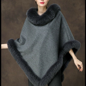 Gray Cashmere and Fox Fur Trimmed Poncho