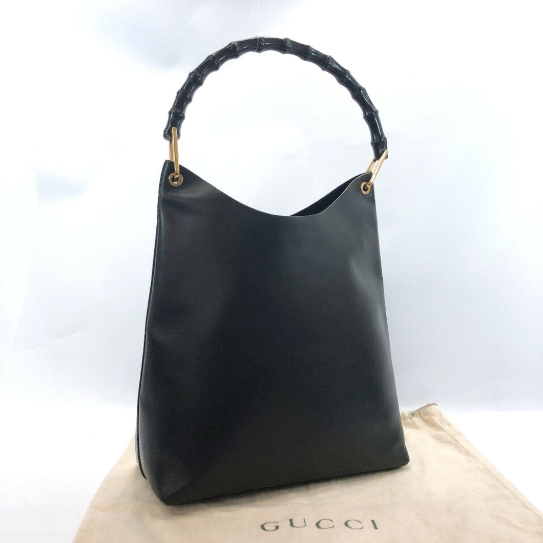 Authentic Gucci Leather Handbag with Bamboo Handle  (preowned)