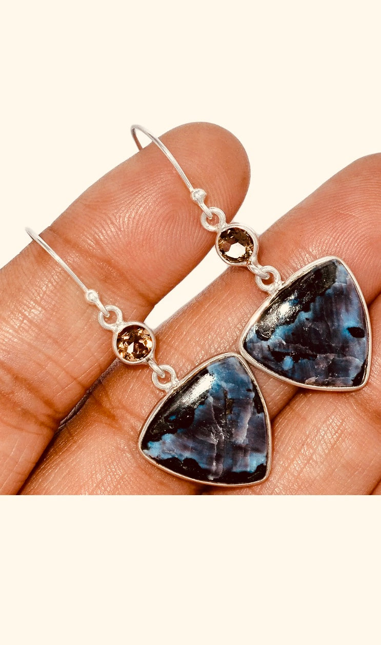 Madagascar Mystic Merlinite & Smoky Topaz Sterling Earrings