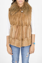 Load image into Gallery viewer, Golden Dyed Sheared Mink and Fox Vest