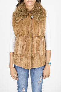 Golden Dyed Sheared Mink and Fox Vest