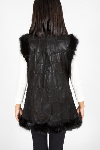 Shearling & Leather Vest (Black)