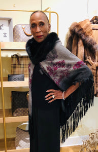 Grey & Violet Paisley Wool Cape with Fox  Fur Trim and Leather Fringe