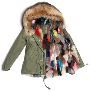 Parka with Fox Fur lining & Raccoon Fur Trimmed Hood