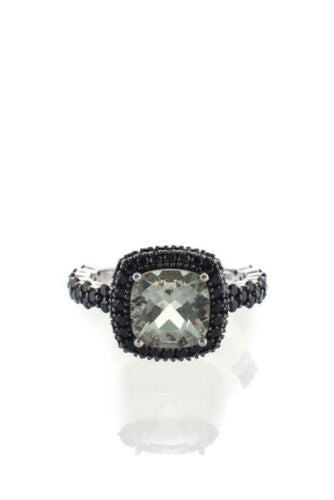Black Spinel & Prasiolite Sterling Silver Ring