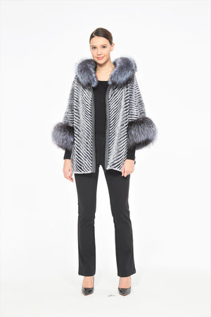 Chinchilla Rex and Silver Fox Fur Poncho/Cape with Hood
