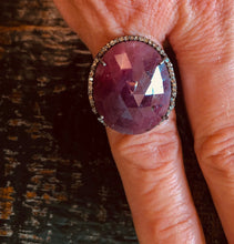 Load image into Gallery viewer, Natural Ruby & Pave Diamonds Sterling Silver Ring