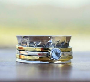 Blue Topaz & Hammered Sterling Silver Spinner Ring