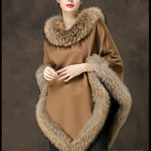 Tan Cashmere and Fox Fur Trimmed Poncho