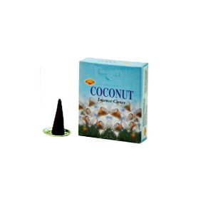 SAC Coconut Cones Incense - 4 Packs, 10 Cones per Pack