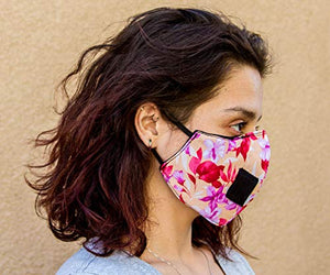 Red Garnet Adult Polyester/Cotton Face Mask - Pink Floral Three Layer Soft Fabric Material - Washable - Adult One Size - Made in The USA