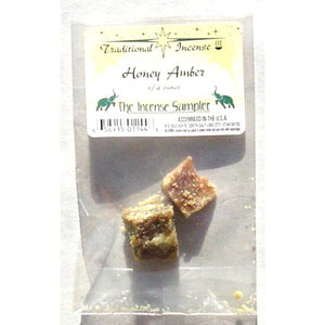 "Honey Amber Incense - 1/4 oz. - Packaged in 3"" X 5"" Bags"
