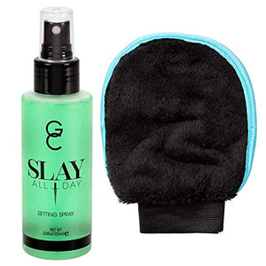 GC Make Up Setting Spray - Gerard Cosmetics Slay All Day Cucumber - OIL CONTROL Spray - 3.38oz (100ml) Comes With Whole Life Exfoliating Glove