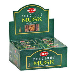Hem Precious Musk Cones Incense - 4 Packs, 10 Cones per Pack