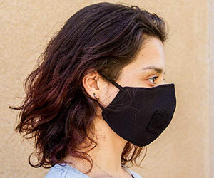 Red Garnet Adult Polyester/Cotton Face Mask - Three Layer Black Soft Fabric Material - Washable - Adult One Size - Made in The USA
