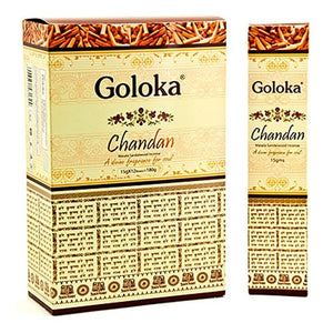Goloka Chandan Sandal Incense - 4 Packs, 15 Grams per Pack