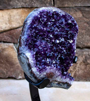 Museum Quality Uruguayan Amethyst with Metal Stand