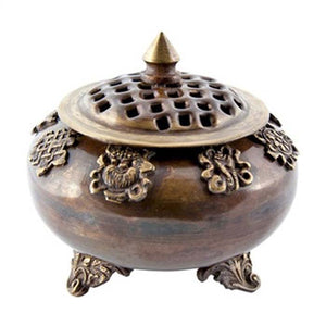 "8 Auspicious Symbols Tibetan Censer Burner Antique - 4""H"