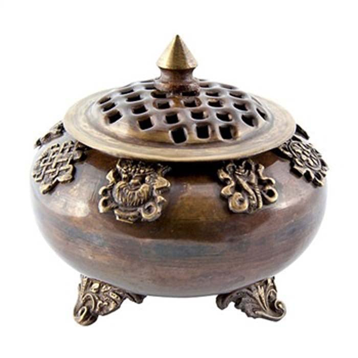 "8 Auspicious Symbols Tibetan Censer Burner Antique - 5""H"