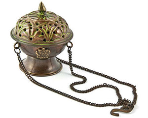 "Tibetan Hanging Censer Burner Antique - 3.75""H"