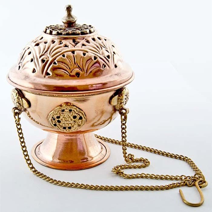 "Tibetan Copper Hanging Censer Burner - 5""H"