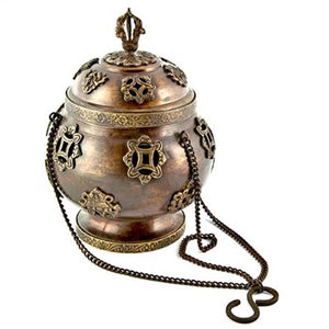 "Tibetan Symbol Hanging Censer Burner Antique - 7""H"
