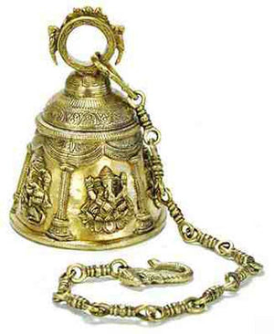 "Lord Ganesh Temple Bell - 6""H, 4""D (33""H with chain)"