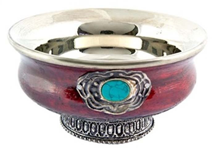 "Tibetan Offering Bowl with Stone - 5""D, 2.5""H"