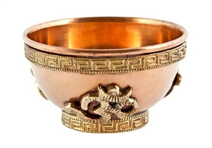 Om Symbol Copper Offering Bowl - 2.5''D