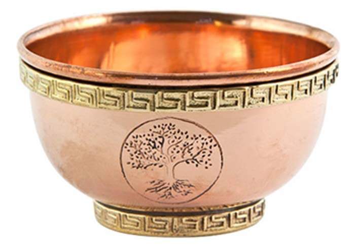 "Tree of Life Copper Offering Bowl - 3""D, 1.75""H"