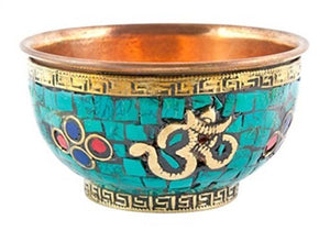 Om Symbol Copper Offering Bowl with Stone Work - 3''D