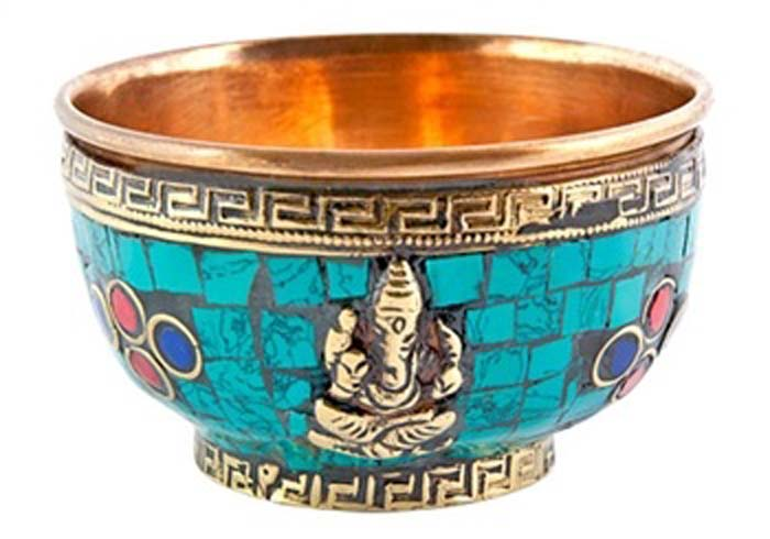 Ganesh Copper Offering Bowl with Stone Work - 3''D