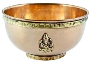 Lord Ganesh Copper Offering Bowl Antique Finish - 4''D