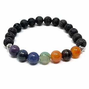 Essential Oil Chakra Lava Stone Bracelet 8mm with 2 Essential Oils