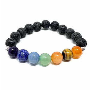 Essential Oil Chakra Lava Stone Bracelet 10mm with 2 Essential Oils