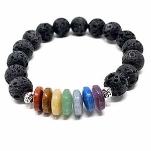 Essential Oil Chakra Lava Stone Bracelet with Rondells 10mm with 2 Essential Oils