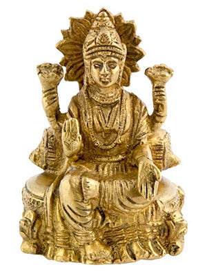 "Goddess Laxmi on Throne Brass Statue - 3.5""H, 2.5""W"