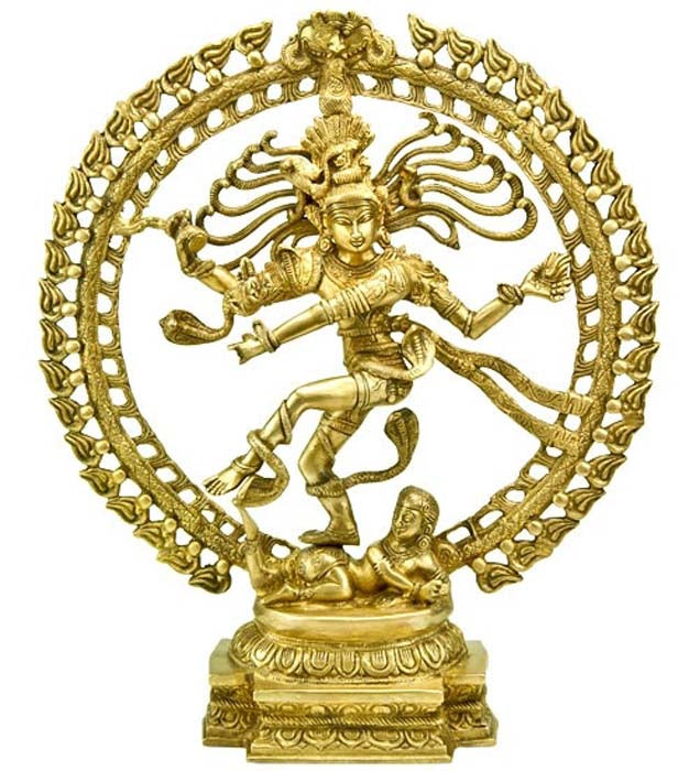 "Natraj Dancing with Dragon on Top Brass Statue - 20""H, 18""W"