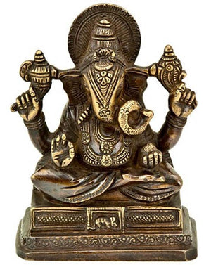 "Lord Ganesh Sitting Brass Statue - 6""H"