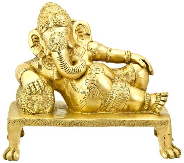 "Lord Ganesh with Pillow Carved Brass Statue - 12""W, 10""H"