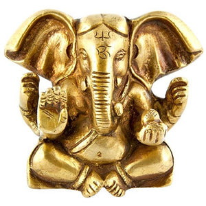 "Lord Ganesh Carved with Big Ear Brass Statue - 3""H, 3.5""W"