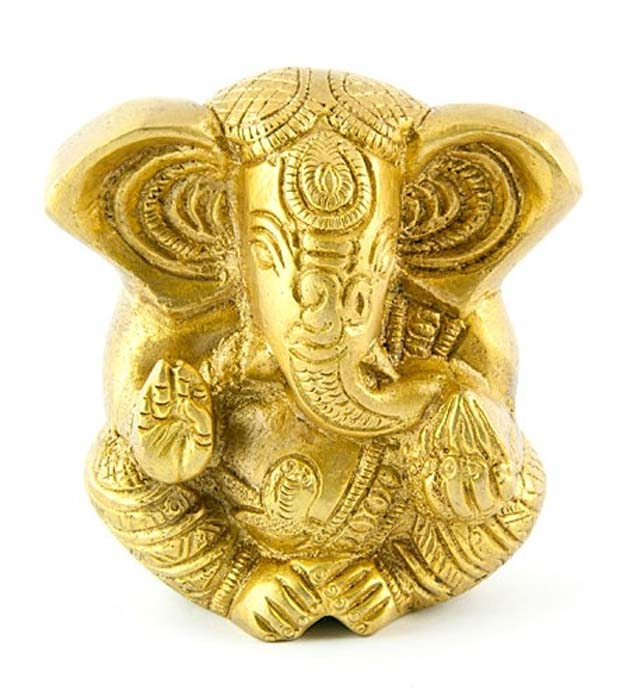"Lord Ganesh Carved Brass Statue - 3""H, 2.75""W"