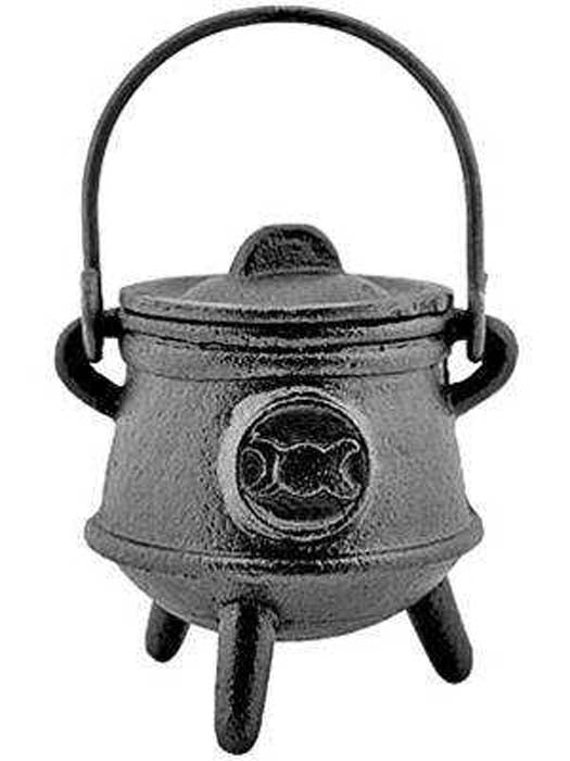"Triple Moon Cast Iron Cauldron with Lid - 4.5""H, 3""D"