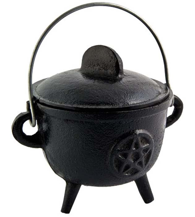 "Pentacle Cast Iron Cauldron with Lid - 5""H, 4.5""D"