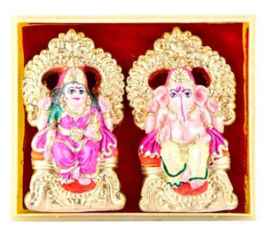 "anesh & Laxmi Pair Clay Statue - 2.25""H"