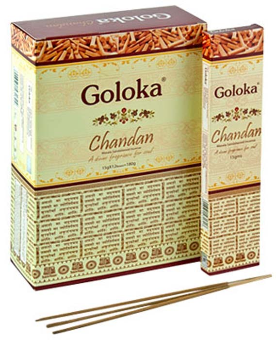 Goloka Chandan (Sandal) Incense - 15 Gram Pack (12 Packs Per Box)